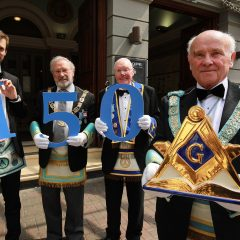 The Provincial Grand Lodge of Antrim this week celebrated it's 150th anniversary with a spectacular day long event, firstly at the Ulster Hall, then followed by a Gala dinner at Belfast's City Hall the celebrations were attended by over 600 Freemason's from across Irleand. Freemasonry is one of the world's oldest and largest fraternal non -political and charitable organisations with over 5,000 members in Antrim and 25,000 across Ireland, and over six million world -wide. Pictured are Sebastian Heinz, a software developer originally from Germany who now resides in  Belfast, Douglas Grey, Grand Master, Masonic Lodge of Ireland, Fergus Jamison, who at 95 has been a Freemason fro over 50 years and John Dickson, Grand Master, Provinicial Grand Lodge, Antrim.
